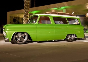 1966 Chevy Suburban Custhot rod interior custom street rod high end auto upholstery truck suburban lime crushom Interiors by Vos leather Mr. Gasket