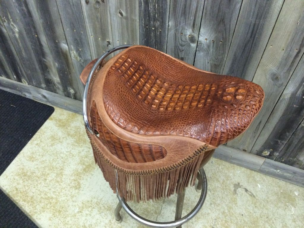 American Hornback Alligator With Distressed Leather
