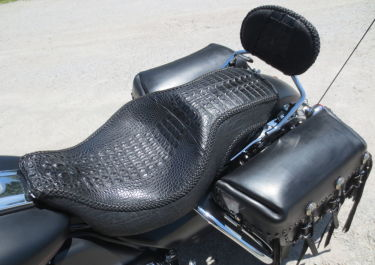 alligator motorcycle seat custom cycle seat harley davidson chicago Illinois indiana exotic skin design high end bagger big wheel bagger cycle seats by vos dave vos customs by vos cycle seats